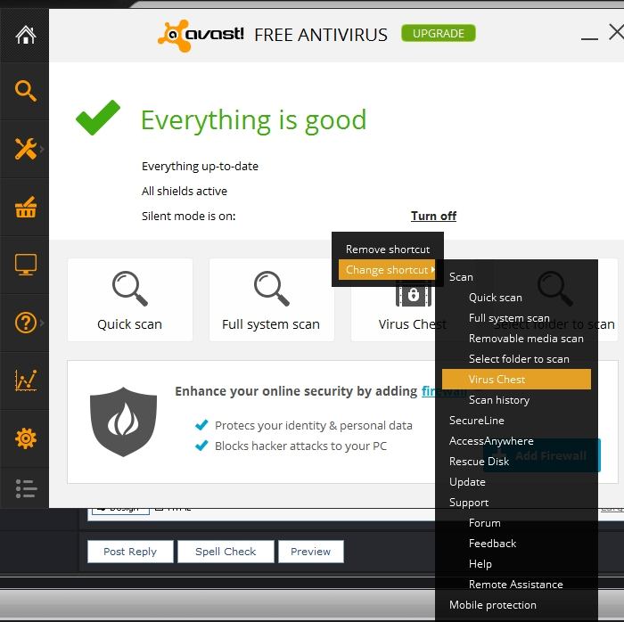 avast how to see virus chest