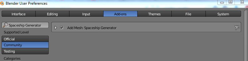 Spaceship generator Blender addon