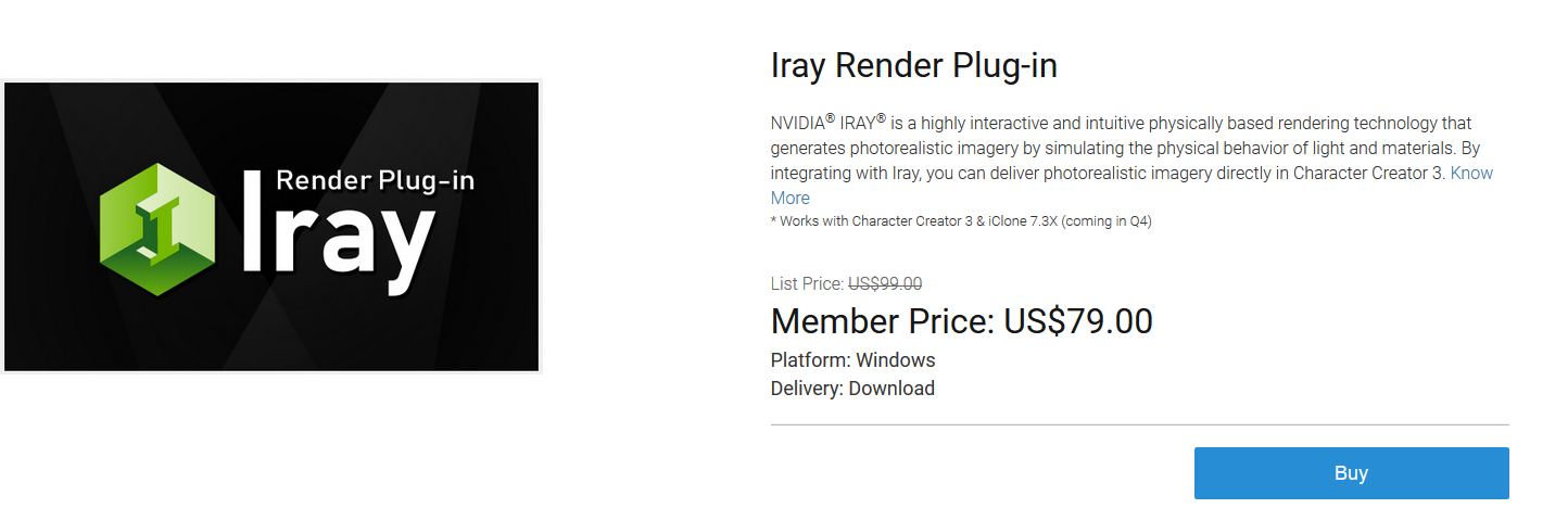 Iray Plugin for iClone 7 and Character Creator 3