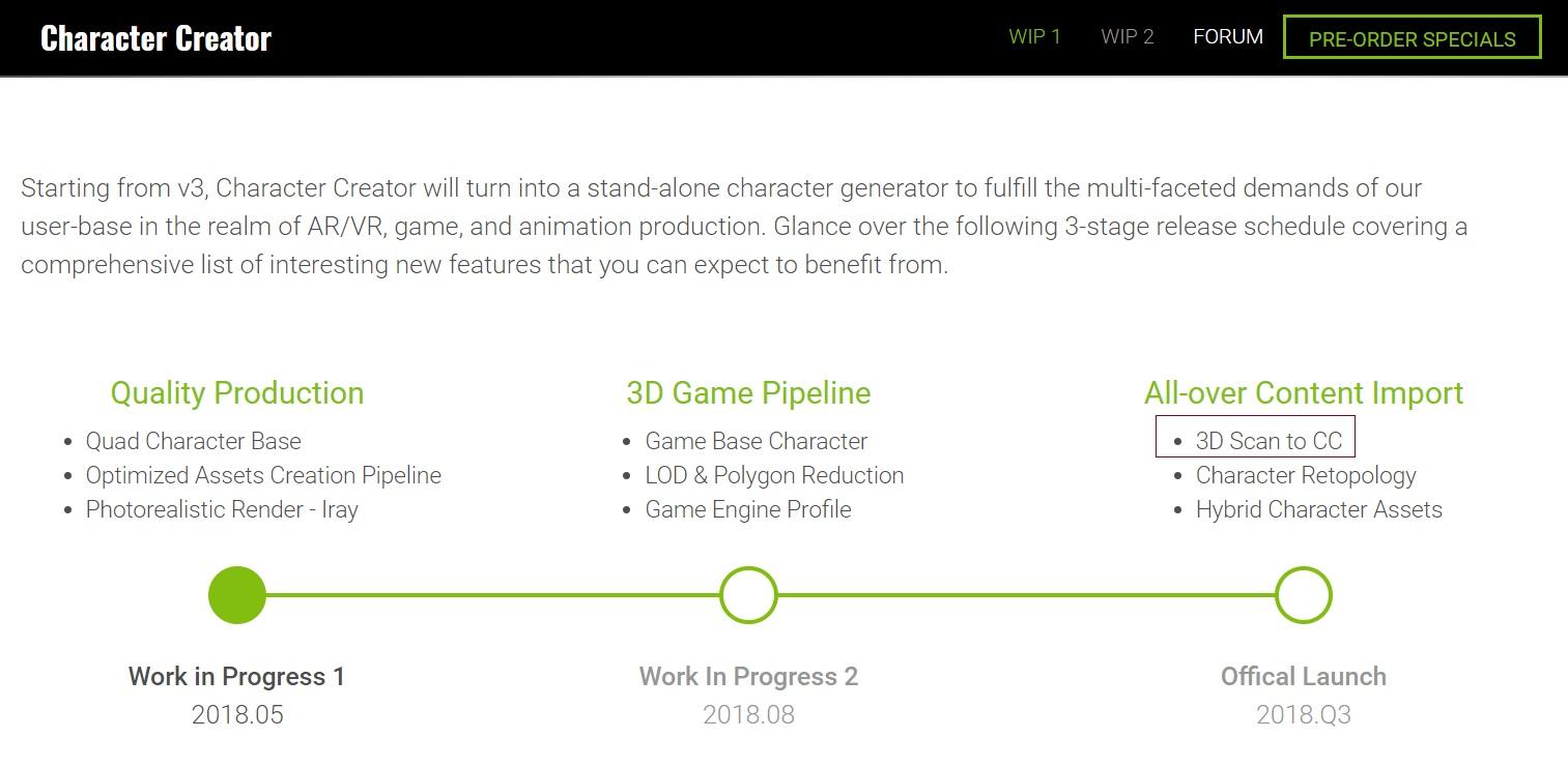 character creator 3 work in progress 1 pre order now