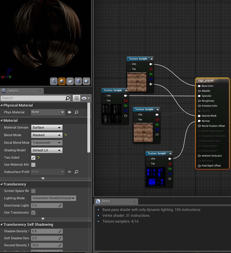 Hair imported into Unreal Engine 4 could look better