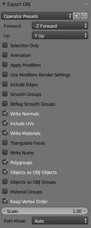 Blender import and export settings